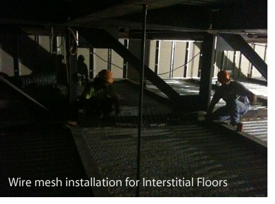 Wire mesh install Interstitial Floor